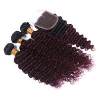 Dark Roots Malaysian Deep Wave Paquetes de cabello con cierre de encaje Color Ombre Borgoña 1B 99J Extensiones de cabello con encaje de cierre 4Pcs / Lot