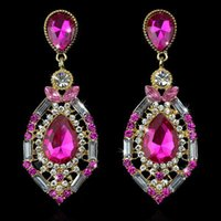 New Gemstone Earrings For Women Colorful Water Droplets Dang...
