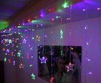 4Mx0.7M عيد الميلاد أضواء عطلة رتبت الخماسية النجوم فانوس سلسلة نجمة LED الستار أضواء