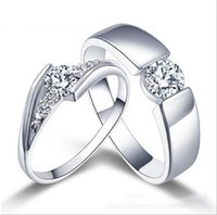 Wholesale - 925 Sterling Silver Rings Couple Ring Diamond En...