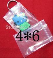 Spedizione gratuita vendita al dettaglio 4x6cm 500 pz / pacco sacchetto trasparente polyest sacchetto-trasparente presa zip blocco PE, sacchetto di immagazzinaggio earing zip richiudibile