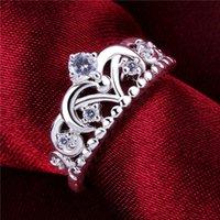 925 Silver Plate Ringen met Side Stones Crown Free Ship GSSR601 Factory Direct Sale Mode Sterling Verzilverde Vinger Ring