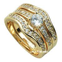 18k conjuntos de anéis de ouro amarelo Fille casamento acoplamento w / cristal R179 H-L