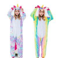 Kadın Cosplay Kostümleri ve Kış Flano Pijama Yıldız veya Gökkuşağı Unicorn Onesies Kigurumi Tulum Hoodies Yetişkinler Cadılar Bayramı Parti Giysileri