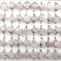 Mode Rosa Kristall Ringe Frauen Schmuck Rosenquarz Ringe 50 stücke Großhandel