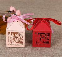 Livraison gratuite Hollow Laser Couper Papier Rouge Rose Rose Mr. Mr. Mr. Mr. Mr. Mr. Mariage Broche De Mariage Box Box Boîte de chocolat Boîtes pour Candy Wholesale 1000pcs Lot