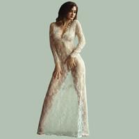 2016 여름 유럽 스타일의 여자 섹시한 레이스 자수 맥시 솔리드 화이트 드레스 긴 소매 깊은 V 넥 시스루 꽃 Vestidos 플러스 사이즈