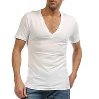남성용 드레스 셔츠에 대한 도매 Undershirt 캄브리아 Hombre 95 % 코튼 Ondergoed 섹시 화이트 S - XXXL G 2458에 대한 깊은 V 넥 Fanila T 셔츠