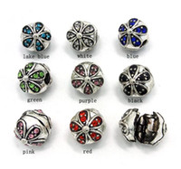 Brand new mix color flower design antique silver plated clip...