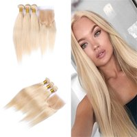 Blench Blonde 613 Virgin Human Hair Extension With Lace Clos...