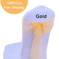 """100 unid Wedding Chair Bow Sashes Organza Pearl Yarn silla cubierta pajarita para el regalo de boda Vintage Party Decoration 7 """"X108"""" Sheer Organza Arcos"""