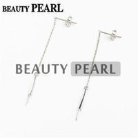 Hopearl Smycken Pearl Drop Earring Inställningar 925 Sterling Silver Dangle Chain Earrings Blanks 3 Pairs