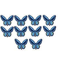 10 STÜCKE blau große schmetterling stickerei patches für kleidung eisen patch für kleidung applique nähzubehör aufkleber auf tuch eisen auf flecken