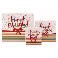 High Quality Happy Birthday Paper Gift Bag with Ribbon Handl...