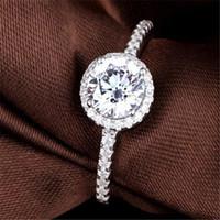 forlove 두 개의 선물 럭셔리 시뮬레이션 된 CZ 다이아몬드 정품 925 여성용 웨딩 약혼을위한 순수한 스털링 실버 반지