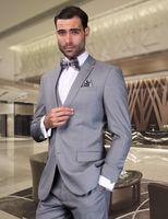 Klassische Fit Grau Bräutigam Smoking Für Männer Hochzeit Trägt Formale Business Prom Party Anzüge Kerbe Revers Zwei Tasten (Jacke + Pants + Weste)