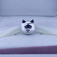 Подходит для pandora браслеты гарантия стерлингового серебра 925 бусины ver любопытный кот Шарм мода ювелирные изделия для женщин 1 шт./лот