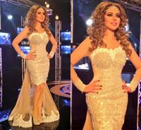 Myriam Fares Abendkleider mit langen Ärmeln Formale Abendkleider mit Überröcken Meerjungfrau-Form Sexy Festzug Kleid Ballkleider Dubai