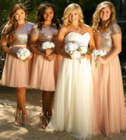 Bling Pink Sequined Short Bridesmaid Dresses A Line Two Pieces Jewel Neck Short Sleeves Tulle Skirt Bridesmaid Homecoming Evening Party Gown