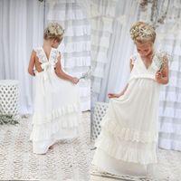 Romántico 2020 Nuevo Llegada Boho Flowen Girl Vestidos para boda barato en V cuello gasa de chifón de encaje en niveles formales para niños vestido de novia hecho a medida