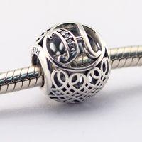 Vintage H Clair CZ 08 100% 925 Perles En Argent Sterling Fit Pandora Charmes Bracelet Authentique DIY Mode Bijoux