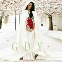 Vestidos de casamento Comprimento Mulheres Branco / Marfim Faux Fur Guarnição de Inverno de Natal Cape Nupcial Deslumbrantes Casamentos de Casamento Com Capuz Longo Partido Wraps jaqueta