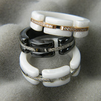 White Black Ceramic Rings with Rhinestone, Rose Gold Silver ...
