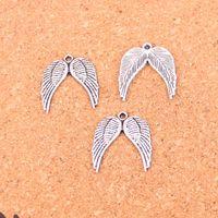 100pcs argento antico placcato angelo ali pendenti di fascini per il braccialetto europeo creazione di gioielli fai da te fatti a mano 21 * 19mm