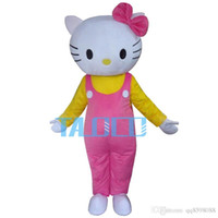 Hot Pink Hello Cat Mascot Costume Cartoon Party Dress Free S...