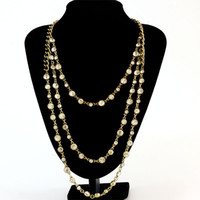 Free Shipping New Statement Three Layered Crystal Glass Stone Necklace, Collar Fashion Sweet Elegant Round Necklace
