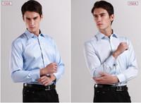 Al por mayor-calidad para hombre clásico francés camisa del manguito de la marca Camisas formales para hombres de manga larga camisa de vestir de los hombres camisas de hombre de negocios 17 colores