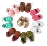 3 пары / лот 2017 новый лето резиновая подошва Детская обувь кисточкой дизайн лето Детская обувь кожа МОКС сандалии детские мокасины сандалии