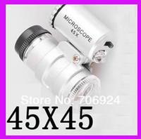 Pocket Size 45X 45 X Mini gioielli Lente di ingrandimento Gioiello Microscopio Endoscopio 2 LED Light + Custodia in pelle nera 100pcs / lot all'ingrosso