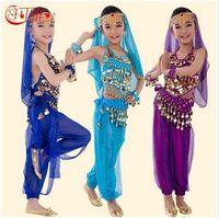 2018 새로운 수제 어린이 배꼽 춤 의상 아이 배꼽 춤 여자 볼리우드 인도 성능 천 전체 세트 6 색