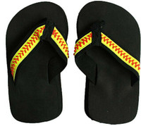 yellow softball flip flop Slippers Sandals Womens Beach spor...