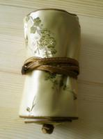 Fina pequeña floral de la joyería de viaje Roll Up Bag bolsa de regalo de tela 3 cremallera bolsa de lazo multi bolsa mujeres