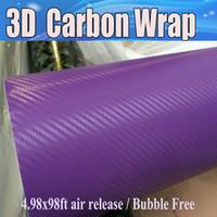 الأرجواني من ألياف الكربون 3D الفينيل سيارة التفاف فيلم فقاعة الهواء مجانا سيارة التصميم الكربون احباط الكمبيوتر المحمول 1.52X30M / لفة