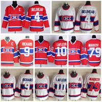 Camisolas de Montreal Canadiens Hóquei no Gelo 4 Jean Beliveau Camisola Retro Vermelho Branco 10 Guy Lafleur 79 Andrei Markov 9 Maurice Richard