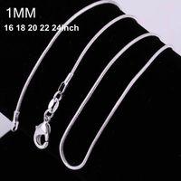 1MM 925 argent sterling chaînes de serpent lisse de taille de la chaîne serpent bijoux des femmes 16 18 20 22 24 26 28 30 pouces gros