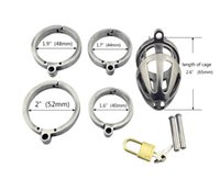 Stainless Steel Male Chastity Devices Cock Cage Penis Lock G...