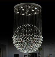 Modern Merdiven LED Kristal Avizeler Aydınlatma Armatürü Otel Lobisinde Fuayer Topu Şekli Yağmur Bırak Kolye
