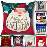 새로운 베개 케이스 산타 클로스 크리스마스 트리 눈사람 엘크 베개 케이스 목화 린넨 베갯잇 홈 소파 카 장식 45 * 45cm 재고 있음 WX-P06