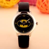 만화 아름다운 소녀 배트맨 스타일 색상 번호 다이얼 어린이 학생 여자의 가죽 쿼츠 시계