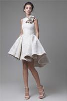 Krikor Jabotian High Low Low Dresses Joyero Escote A-Line Flower Party Party Dress Breve Encaje Vestidos de noche