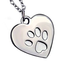 alloy punk Peach Heart Lion dog Paw claw prints necklace wol...