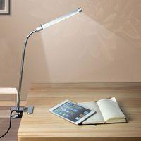 Светодиодный настольный светильник для чтения с клипом, двухуровневый переключатель яркости, настольная лампа, настольный светильник, серебристый 1 шт. / Лот