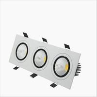 3 cabeças led luzes recessed quadrado led para baixo luzes COB Dimmable 15 W / 21 W / 30 W / 36 W LEVOU luz Do Ponto Do Teto Lâmpada AC85-265V puck luz
