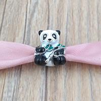 Authentische 925 Sterling Silber Perlen Niedliche Panda Charm Charms passt europäischen Pandora-Stil Schmuck Armbänder Halskette 796256DEMX