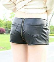 Hot Sexy PU Zipper aperto Cortch Booty Shorts Vintage Carino Bikini vita bassa Micro Mini Shorts Erotic Culb Wear FX1052