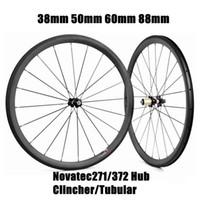 Yol Bisiklet Tekerlekleri 38mm / 50mm / 60mm / 88mm Derinlik 23mm Genişlik Kattığı / Tübüler 3 K Karbon Tekerlekler Novatec271 / 372 Hub Bisiklet Tekerlek
